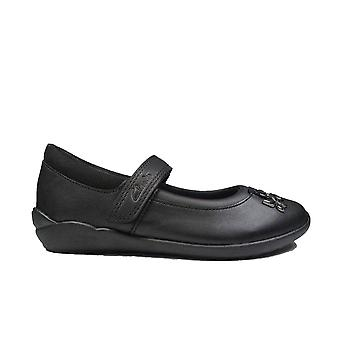 Clarks Vibrant Trail Kids Black Leather Girls Mary Jane School Shoes