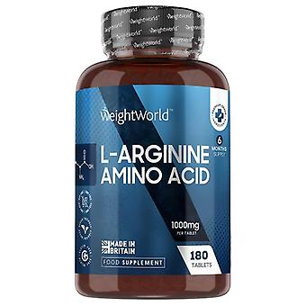 L-Arginine HCL Capsules - 1000mg 180 Tablets (6 Month Supply) Amino Acid Supplement for Men & Women Muscle Size, Strength & Tone