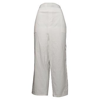Susan Graver Pantalons pour femmes Premium Stretch Pull-On Crop White A394035