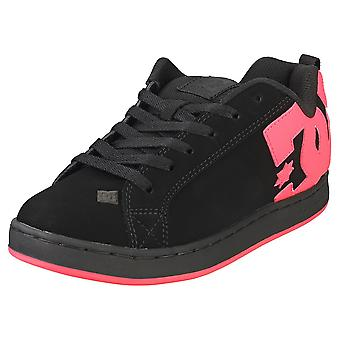 DC Shoes Court Graffik Womens Skate Trainers in Black Hot Pink