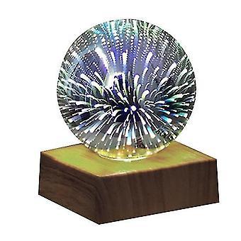 3d Crystal Ball Nachtlampje, Glazen Bal Met Kleur Led Base (Style1)