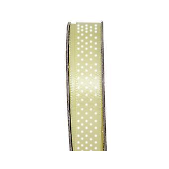 LAST FEW - 3m Lemon Drop 10mm Wide Polka Dotted Satin Craft Ribbon