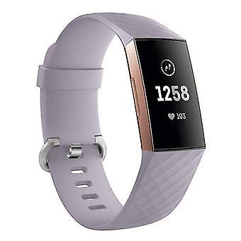 Siliconen armband compatibel met Fitbit Charge 3 (Lichtpaars)