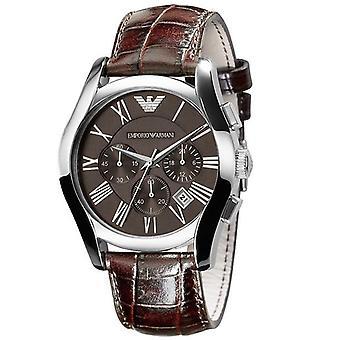 Cuero marrón correa plata Bisel cronógrafo reloj de Emporio Armani AR0671