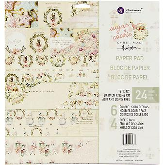 "Prima Marketing Dubbelzijdige Paper Pad 12""X12"" 24/Pkg - Sugar Cookie, 6 Foiled Designs/4 Elk"