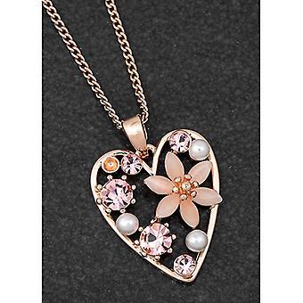 Boho Chic Collar de Corazón Floral Chapado en Oro Rosa