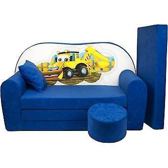 Kinder slaapbank set - logeermatras - sofa - 170 x 100 x 8 - slaapbank - donker blauw - graafmachine