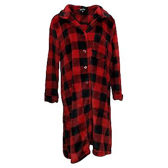 Soft & Cozy Women's Long Sleeve Front Button Robe Red 670934