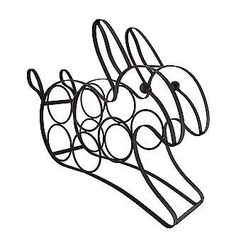 Black Enamel Coated Bunny Rabbit 5 Bottle Metal Wine Rack / Holder