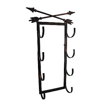 Crossed Arrows Rustic 4 Bottle Wall Mounted Wine Rack