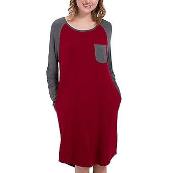Ladies Round Neck Stitching Contrast Color Nightdress(S)(Red)