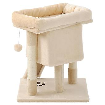Small Cat Condo With Padded Perch And Basket With Large Scratching Board