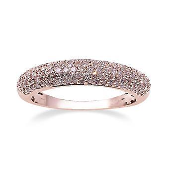 TJC Natural Pink Diamond Wedding Cluster Ring for Women 9K Rose Gold 0.5ct