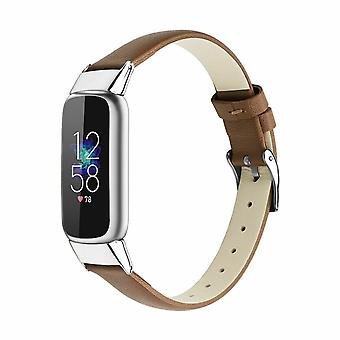 for Fitbit Luxe / Special Edition Band Strap Genuine Leather Replacement Wrist[Brown]