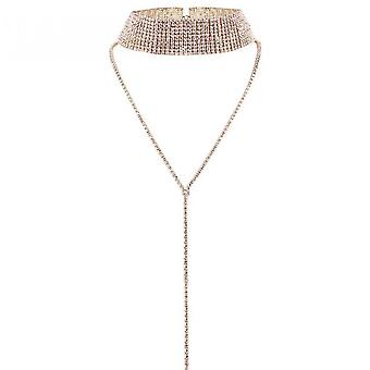 Sofirn Women Crystal Jewelry Set Bridal Wedding Rhinestone Choker Bracelet Dangle Earrings