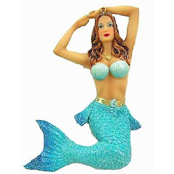 December Diamonds Nautica Teal Blue Mermaid Christmas Holiday Ornament 7 Inches