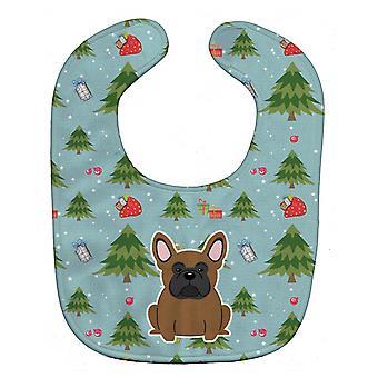 Carolines Treasures  BB4673BIB Christmas French Bulldog Brown Baby Bib