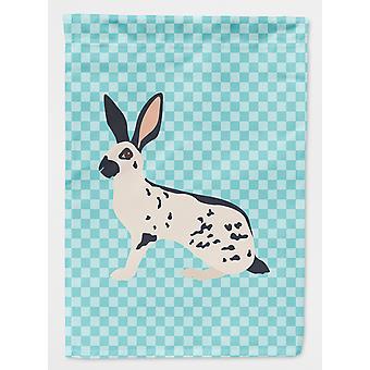 English Spot Rabbit Blue Check Flag Canvas House Size