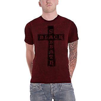 Black Sabbath T Shirt Vintage Cross Band Logo Official Mens 2tone Burnout