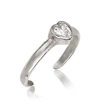 14k White Gold Cubic Zirconia Adjustable Elegant Heart Shape Body Jewelry Toe Ring Jewelry Gifts for Women