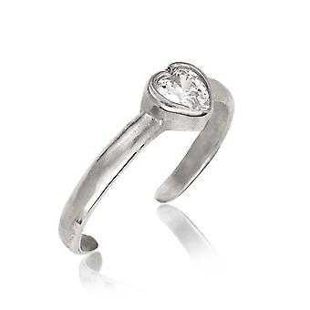 14k Oro Bianco C'è Cubic acuzone Simulato Diamante Regolabile Elegante Amore Cuore Cuore Gioiello Gioielli Toe Ring Gioiello Gif