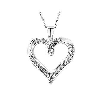 Diamond Heart Pendant Necklace 1/10 Carat (ctw) in 10K White Gold