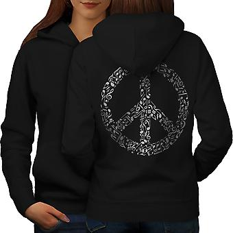 Peace Sign Music Rasta Women BlackHoodie Back | Wellcoda