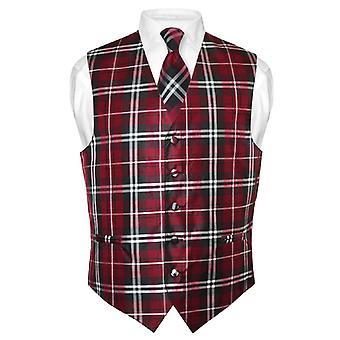 גברים ' s עיצוב משובץ שמלה אפוד & עניבה עניבה להגדיר