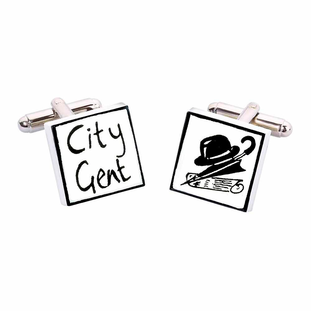 City Gent Cufflinks by Sonia Spencer, in Presentation Gift Box. Hand painted