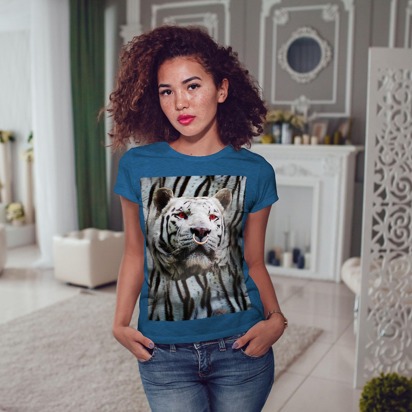 Tigre visage yeux rouges BlueT-shirt Royal femme | Wellcoda