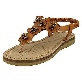 Ladies Savannah pärlstav blomma Trim sandaler F00099