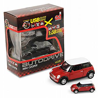 BMW Mini Cooper S Bil Gift Box Set - 01:38 Modell Bil + 4 Gb USB Flash Drive - Röd