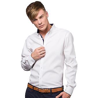 Kustom Kit Mens contraste Premium camisa (botão colar) de Oxford manga longa