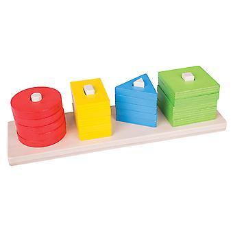 Bigjigs brinquedos educacionais de madeira forma classificação e empilhamento educacional Board