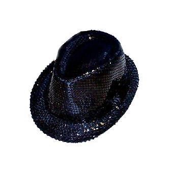 Pailletten Gangster Hut - schwarz