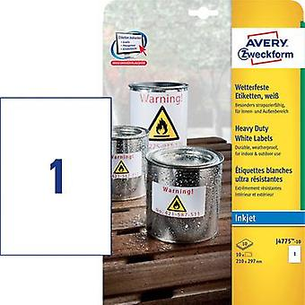 Avery-Zweckform J4775-10 etiketten 210 x 297 mm Polyester film wit 10 PC('s) permanente All-purpose etiketten, weerbestendige etiketten