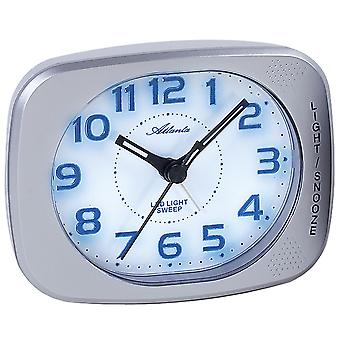 Atlanta 1950/19 alarm clock quartz Silver Blue quietly without ticking with light Snooze