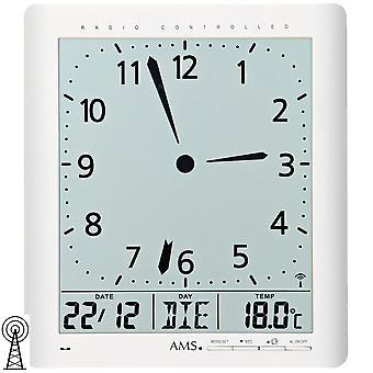 AMS 5896 wall clock clock radio white digital date alarm thermometer