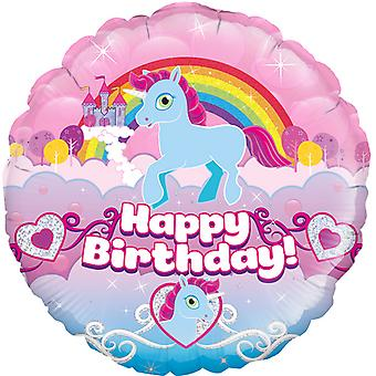 Oaktree 18 in holografische Unicorn Rainbow Birthday folie ballon