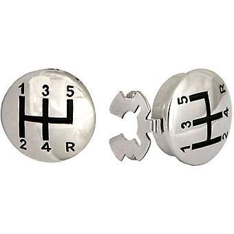 Botão da alavanca de velocidades de David Van Hagen cobre - preto/prata
