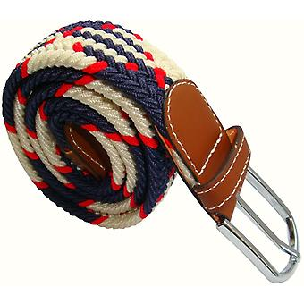 Bassin en Brown puntige Stripe elastisch geweven Buckle Belt - rood/Marine/wit
