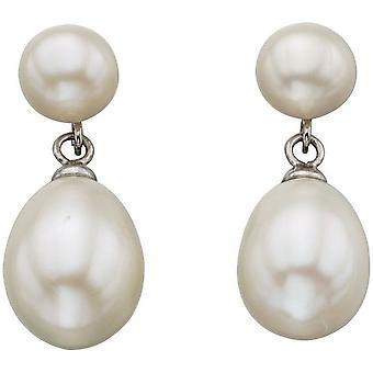 Anfängen Süßwasser Perle Doppel-Drop Ohrstecker - weiß/Silber