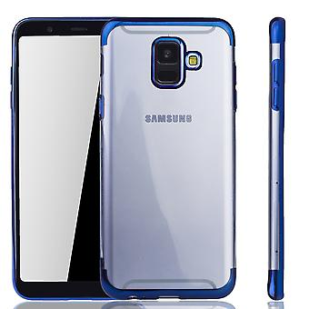 Handyhülle für Samsung Galaxy A6 2018 Blau - Clear - TPU Silikon Case Backcover Schutzhülle in Transparent / glänzender Rand Blau