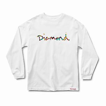 Diamond Supply Co OG Script Fasten Long Sleeve T-Shirt White