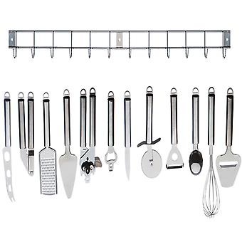 Kabalo Complete Cooking Set: 12pc Stainless Steel Kitchen Utensil / Kitchen Gadget Tool Set with Hanging Bar
