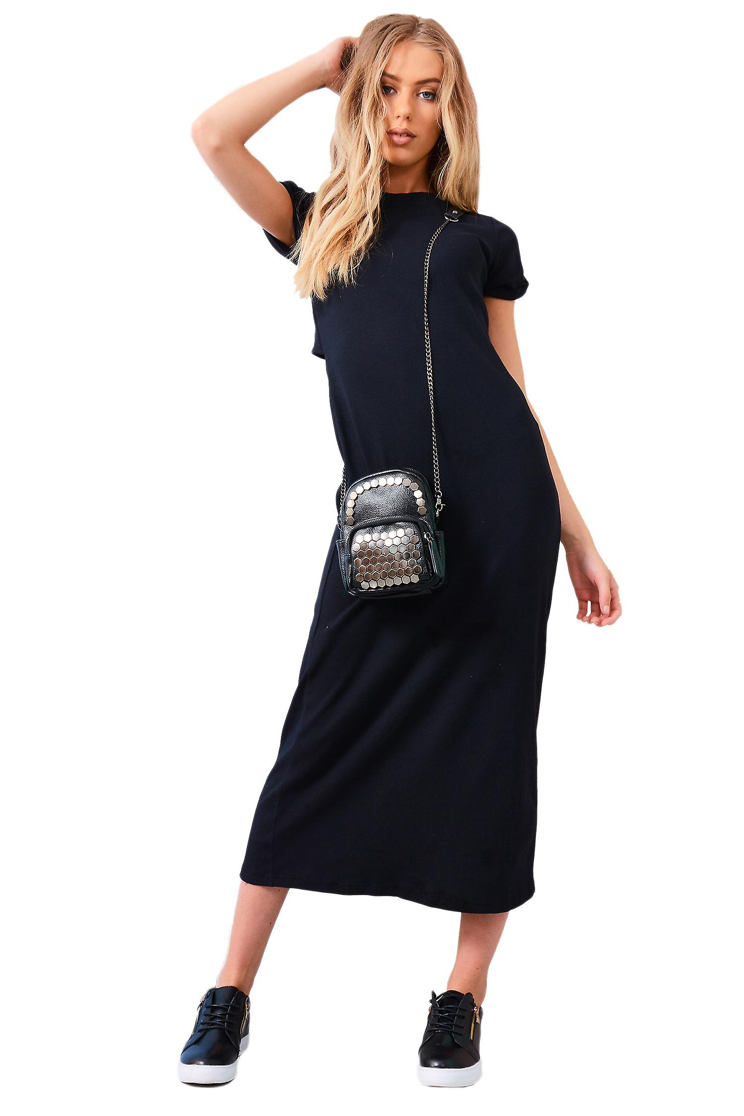 Lovemystyle Black Maxi Dress With Mid Twist And Short Sleeves