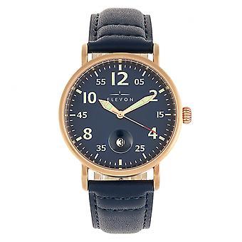 Elevon Von Braun Leather-Band Watch w/Date - Rose Gold/Blue