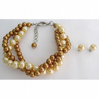 Brudtärna smycken Pearl Armband fält av guld gul bröllop som