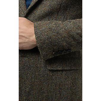 Scottish Harris Tweed Mens Green Tweed Jacket Regular Fit 100% Wool Herringbone