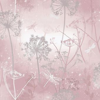 Damselfly Blush Pink Trees Butterflies Floral Flower Glitter Luxury Arthouse